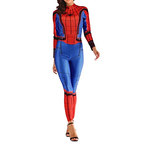 QQWE Traje de Spiderman para Mujer Mono de Spandex The ...