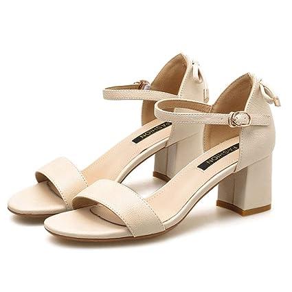 c214515ebaf83 Amazon.com: MEMIND Ms Sandals High Heels One Word Buckle Bow Female ...