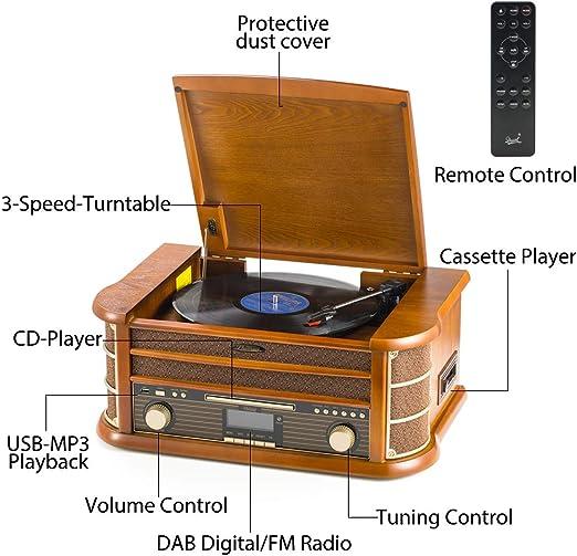 Tocadiscos de 8 en 1 SHUMAN - Reproductor de Giradiscos ,Dab Radio ...