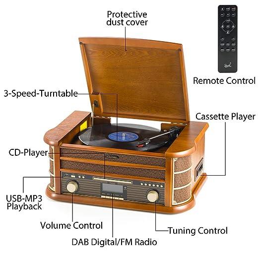 Tocadiscos de 8 en 1 SHUMAN - Reproductor de Giradiscos ,Dab Radio ,FM Radio,Inalámbrico , Reproductor de CD,Cassette,Grabación USB,Altavoz ...