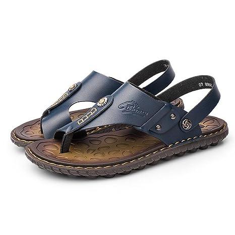 QIDI Sandalias Temporada De Verano Hombre Azul Marrón Amarillo Antideslizante Zapatos De Playa Zapatillas (Color