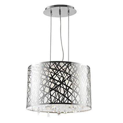 c6a551dc9a6 Worldwide Lighting Julie Collection 4 Light Chrome Finish Oval Drum Shade  with Clear Crystal Chandelier 17