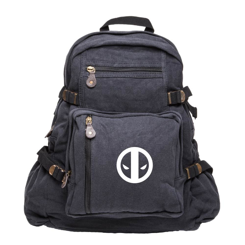 Deadpool Logo Army Sport Heavyweight Canvas Backpack Bag in Black & White, Large
