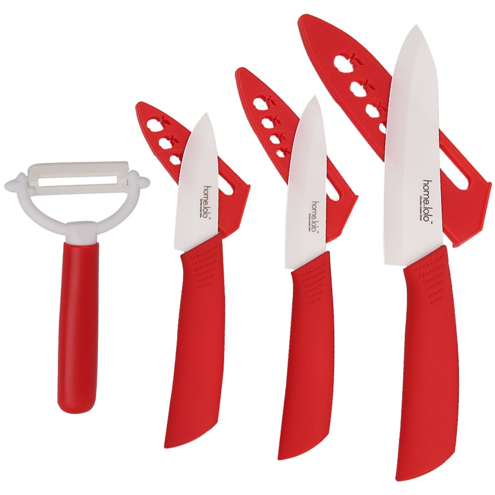 Home lolo Ceramic Knife Set White Blade 3'' 4'' 6'' Kitchen Knives with Peeler and Sheath Covers With Box Pack (Red)
