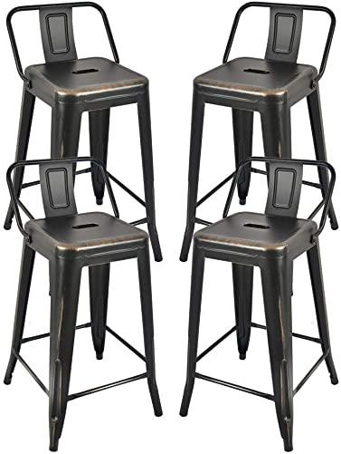 Metal Counter Bar Stools Metal Farmhouse Chairs 24 Seat Height BlackGold