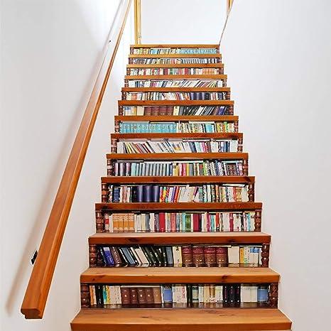 MAOYYM1 Escalera Grande Etiqueta De La Pared Tamaño Escaleras Escaleras Pegatinas Estante De Libros Libros Falsos DIY 3D Pegatinas De Pared Decoración del Piso Calcomanías: Amazon.es: Hogar