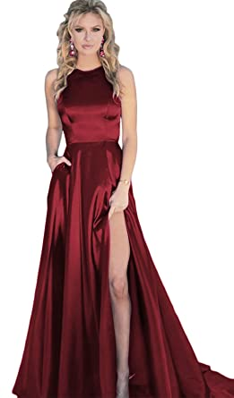 0ac375f626c BRL MALL Women s Crew Neck Satin Prom Dresses Slit Formal Party Gown with  Pockets BPM26