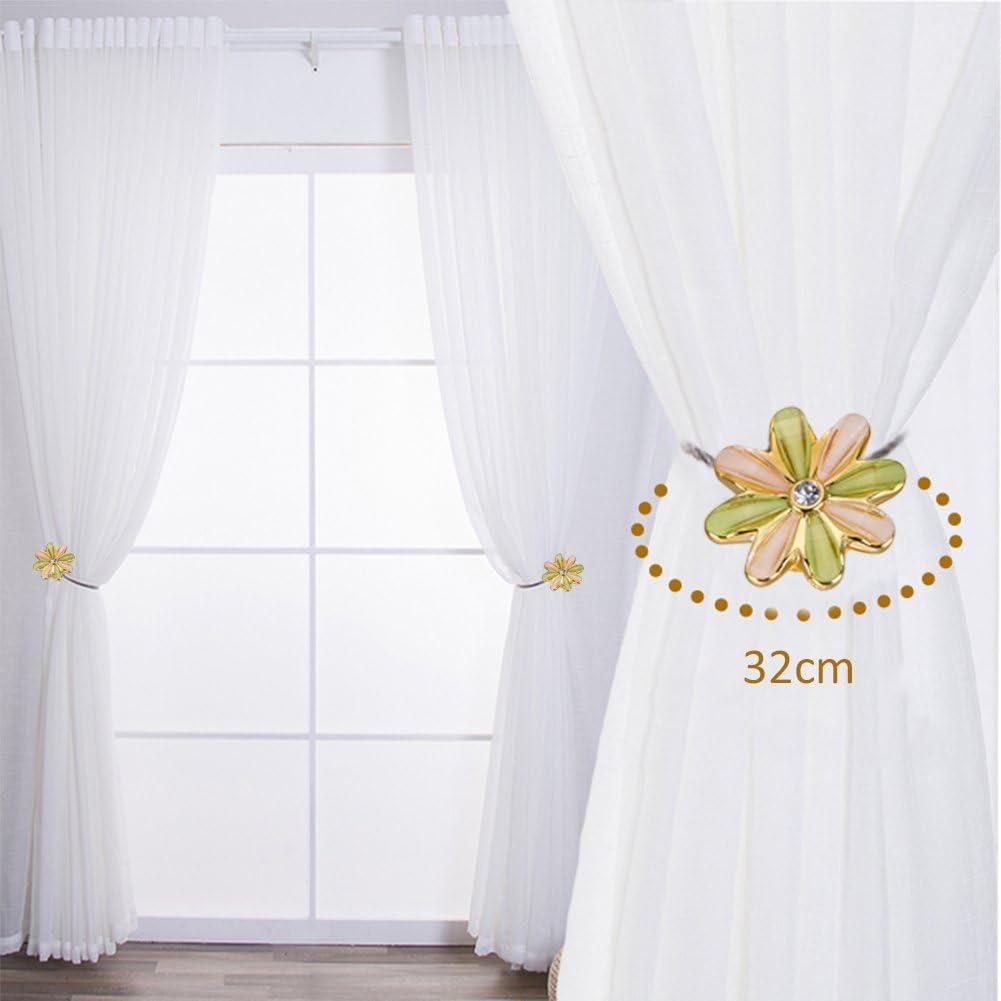 1/Rideau Embrasse magn/étique Bande binden Fleurs Forme holdbacks Tiebacks lianle vert
