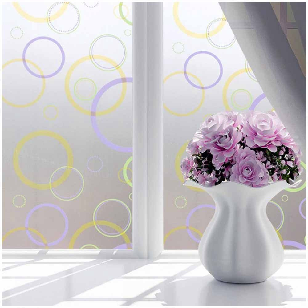 SODIAL(R) Bedroom Bathroom Home Waterproof Glass Window Privacy Film Sticker PVC Frosted Colorful circle