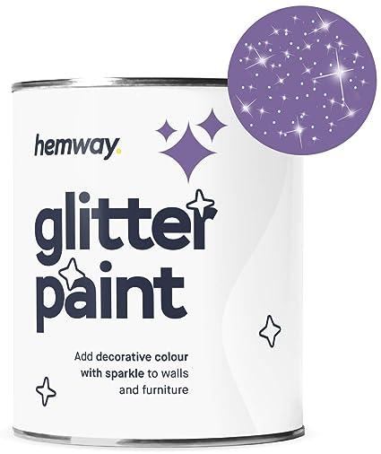 Hemway Silver Glitter Paint 1l Matt Emulsion Walls Wallpaper Bathroom Furniture Acrylic 1 Litre Quart Gallon Amethyst