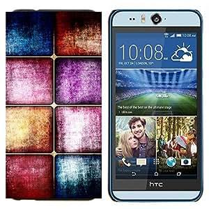 EJOOY---Cubierta de la caja de protección para la piel dura ** HTC Desire Eye M910x ** --Azulejos de suelo de cristal púrpura en colores pastel azul Textura de piedra