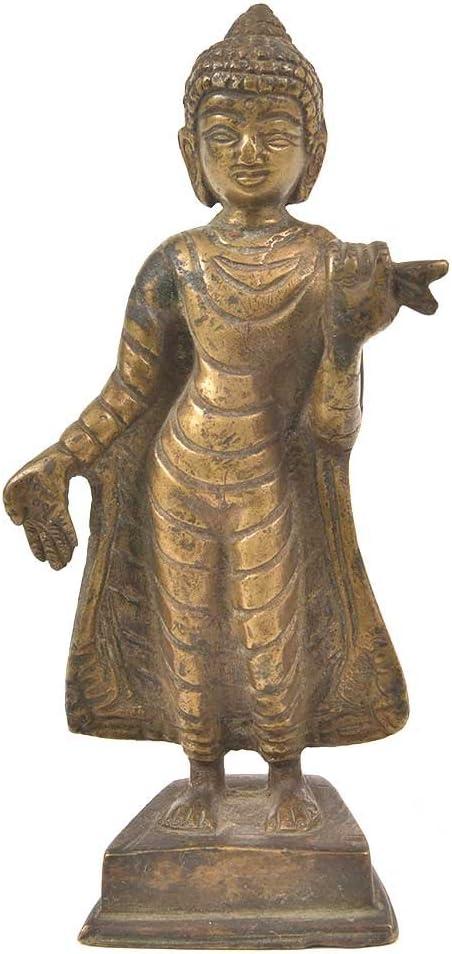 Indian Shelf Handmade Golden Brass Buddha Standing Pack of 1 Statue Statement Pieces Decor Gift Items