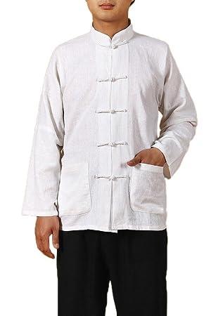 Manga larga Bigood espiga de Kung Fu de los hombres camisa ...