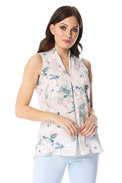 0ba9ce8f626c57 Roman Originals Women Floral Pleat Front Top - Ladies Casual Everyday  Spring Summer Holiday Smart Feminine Pretty Girlie Pastel Sleeveless V Neck  Blouse Top