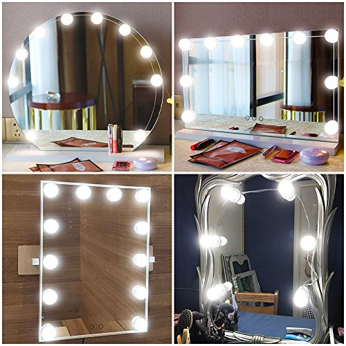 YiFi-Tek Hollywood Style LED Vanity Mirror Lights Kit, 10 Dimmable Light Bulbs, Lighting Fixture Strip for Makeup Vanity Table Set in Dressing Room (Mirror Not Included)