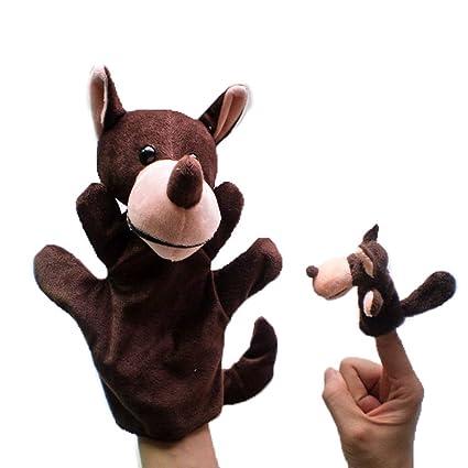 2pcs Marionetas Mano Dedos Peluches Animales Figuras - Lobo
