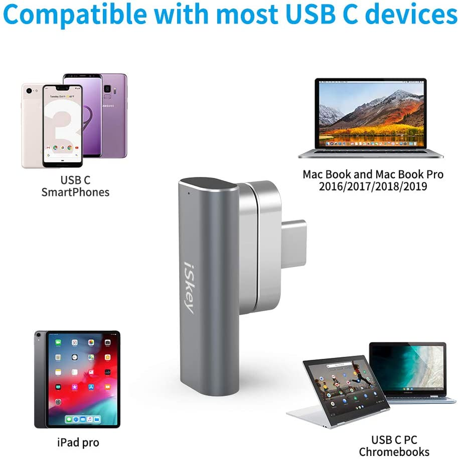 Magnetic USB C Adapter 20Pins Type C Connector 10Gb//s Data Transfer and 4K@60 Hz Video Output Compatible with MacBook Pro//Air and More Type C Devices Silver Support USB PD 100W Quick Charge