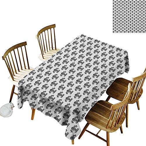- kangkaishi Waterproof Anti-Wrinkle no Pollution Long Tablecloth Historical European Heraldry Symbol with Rich Iris Buds and Curved Leaves W60 x L126 Inch Black White