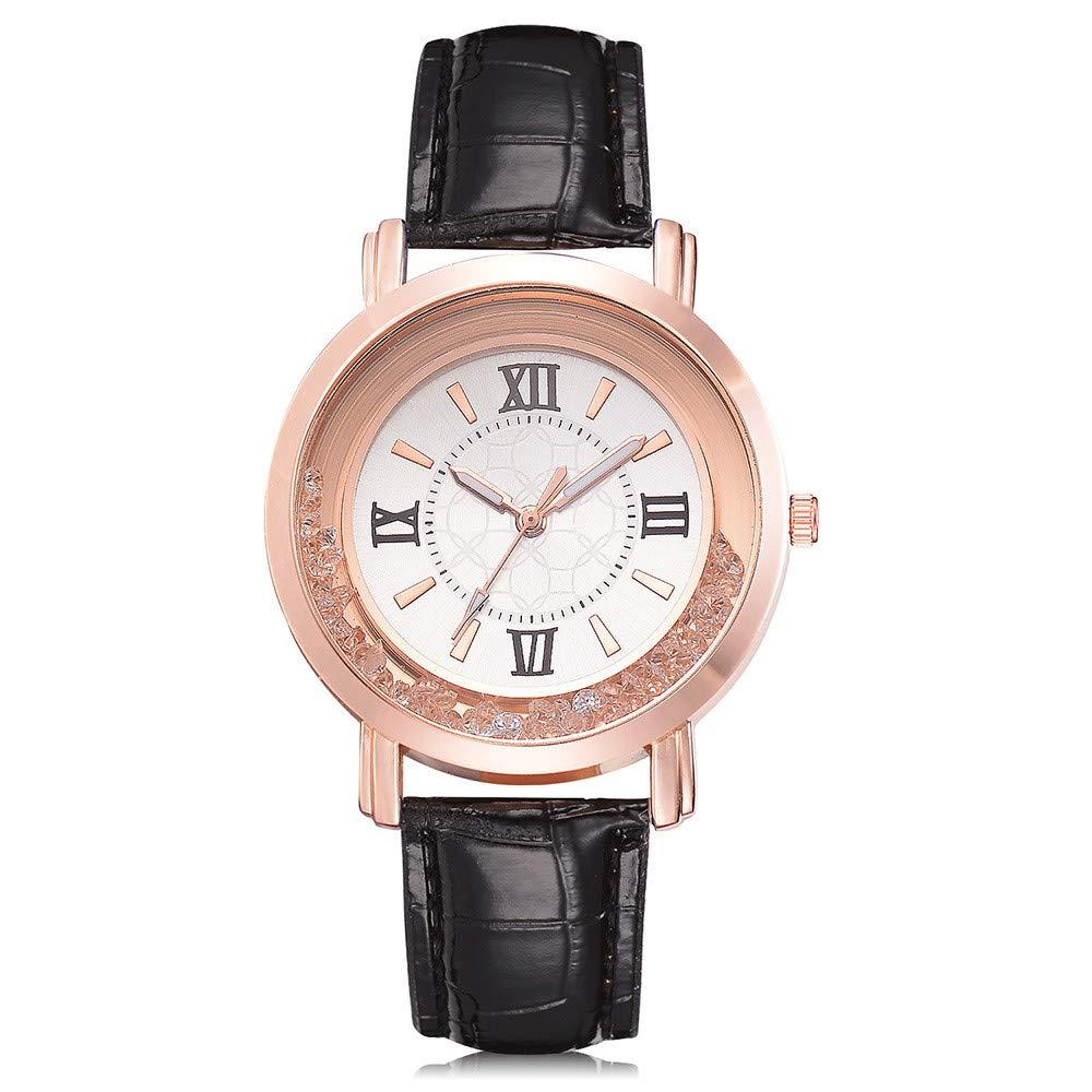 Women Fashion Luxury Leisure Watch Leather Stainless Steel Quartz Watch,Outsta 2019 Fashion Watches Birthday Lover Gift Spring Deals!Hot (BK)