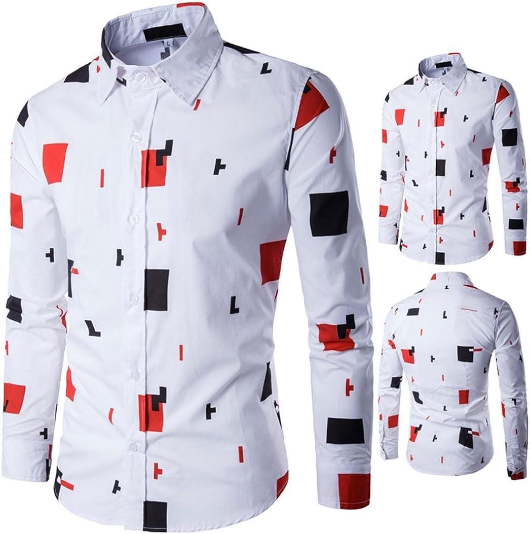 WM /& MW Mens Shirt Casual Business Long Sleeve Novelty Print Blouse Stylish Button Dress Shirts Tops