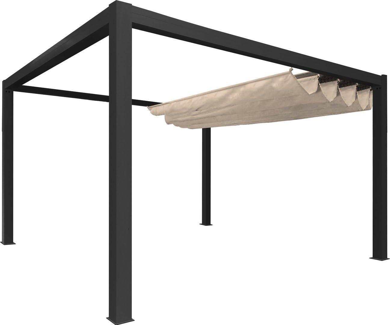 Pérgola independiente clásica de lona y aluminio – 4 x 3 m – Gris con lona blanca: Amazon.es: Jardín