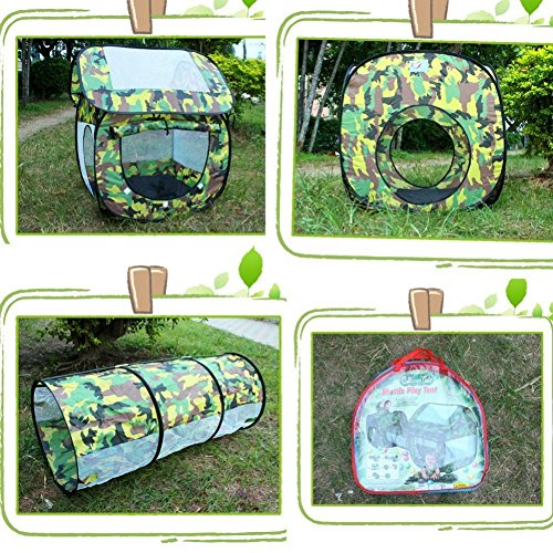 Outdoor Indoor Play House Tent Tunnel,LifeVC Child Playhouse,Play Tent Set for Toddlers Child Kids(Color:Camouflage) – Perfect Christmas Gift For Child