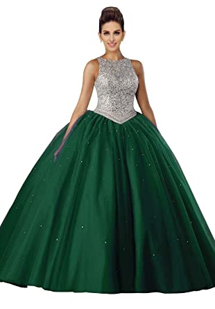 6037e78fd1c Tulle Ball Gowns Prom Dresses Jewel Backless Crystal Beads Sequin  Graduation Dresses Emerald 2