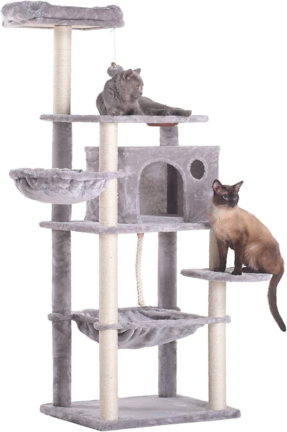 Hey-Brother Extra Big Cat Tree with Feeding Bowl, Cat Condos with Sisal Poles, Hammock and Cave, Padded Platform, Climbing Tree for Cats, Anti-toppling Devices