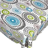 Whimsy Circle Contemporary Print Indoor/Outdoor Vinyl Flannel Backed Tablecloth - 52 x 70 Oblong