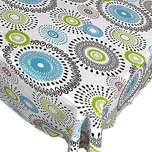 Whimsy Circle Contemporary Print Indoor/Outdoor Vinyl Flannel Backed Tablecloth - 52 x 90 Oblong]()