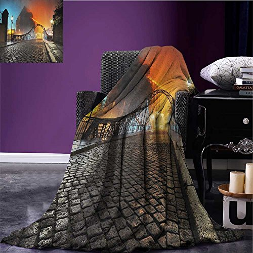 "Discount Landscape survival blanket Modern City Bridge at Night with Mystical Sightseeing Urban Theme Landscape space blanket Grey Orange size:59""x35.5"" for sale"