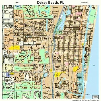 Road Map Florida.Amazon Com Large Street Road Map Of Delray Beach Florida Fl