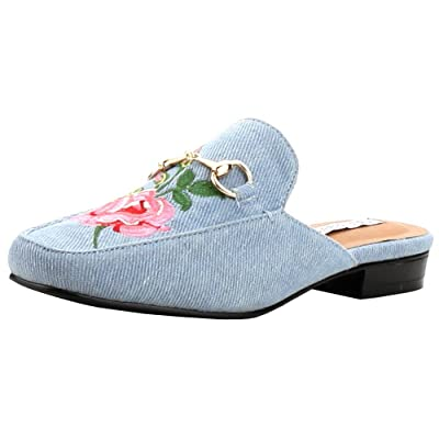 Amazon.com | Cape Robbin Women's Slip On Floral Embroidered Mules | Shoes