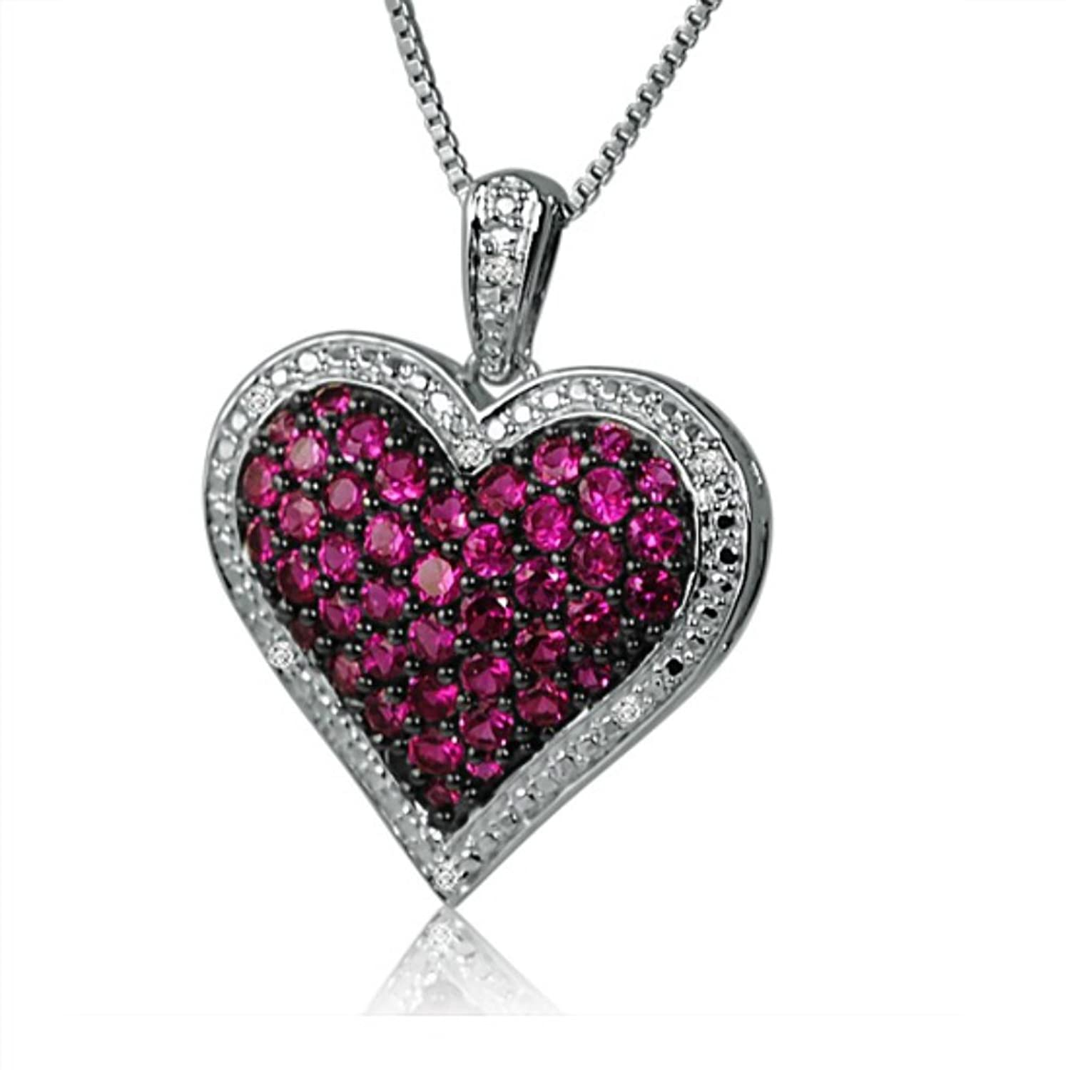 Amazon Created Ruby and Diamond Puffed Heart Pendant