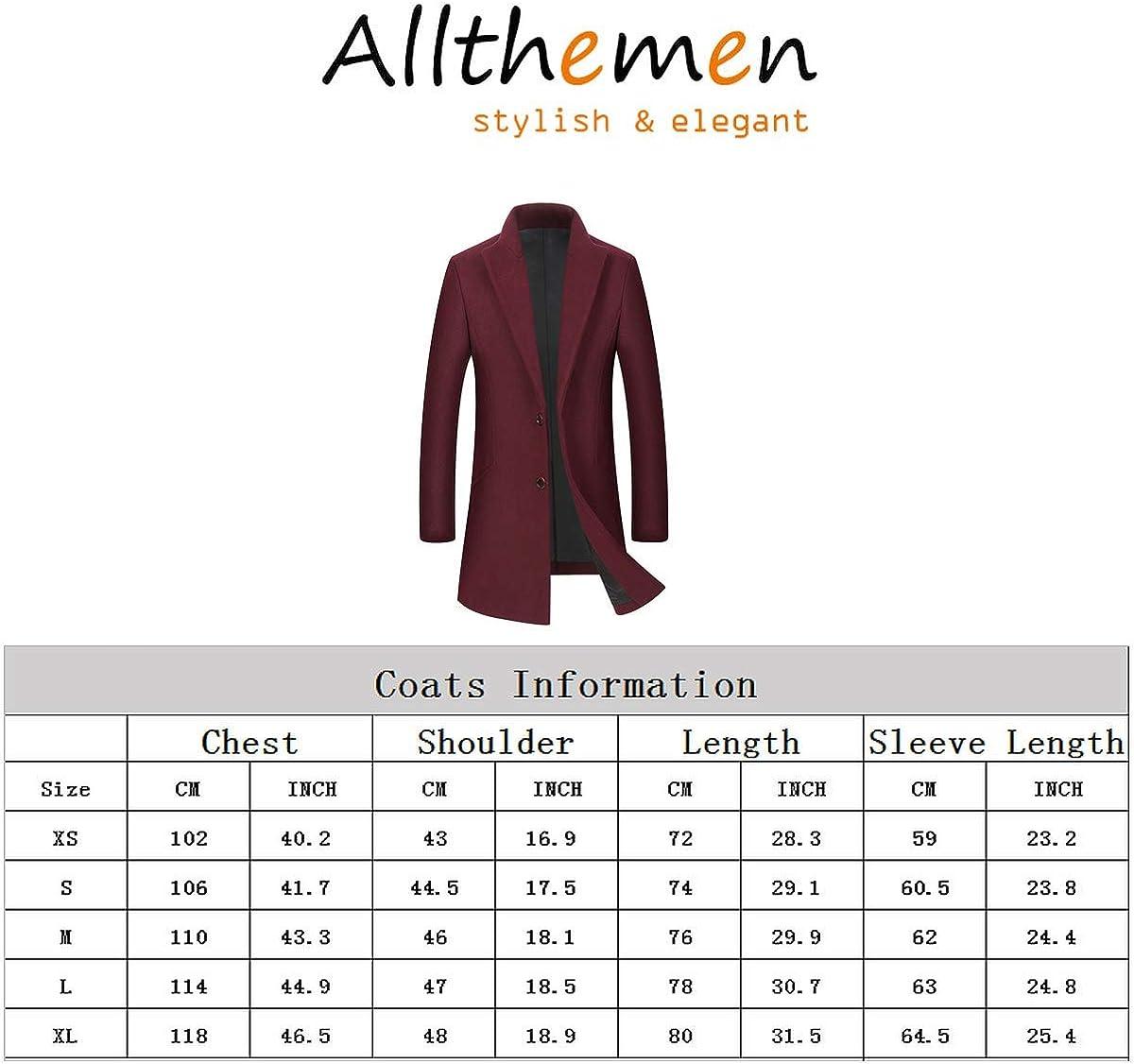 Allthemen Mens Trench Coat Long Slim Fit Wool Cashmere Coat Jacket Outerwear Trenchcoats Winter Warm Overcoat 1998black
