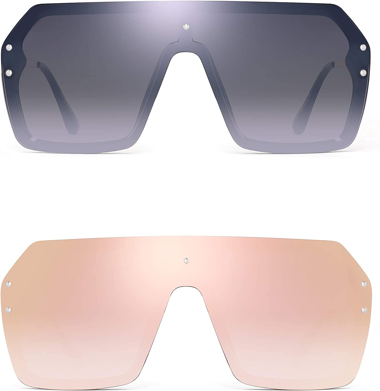 Fashion Women Oversized Rimless One-Piece Gradient Flat Top Square Sunglasses