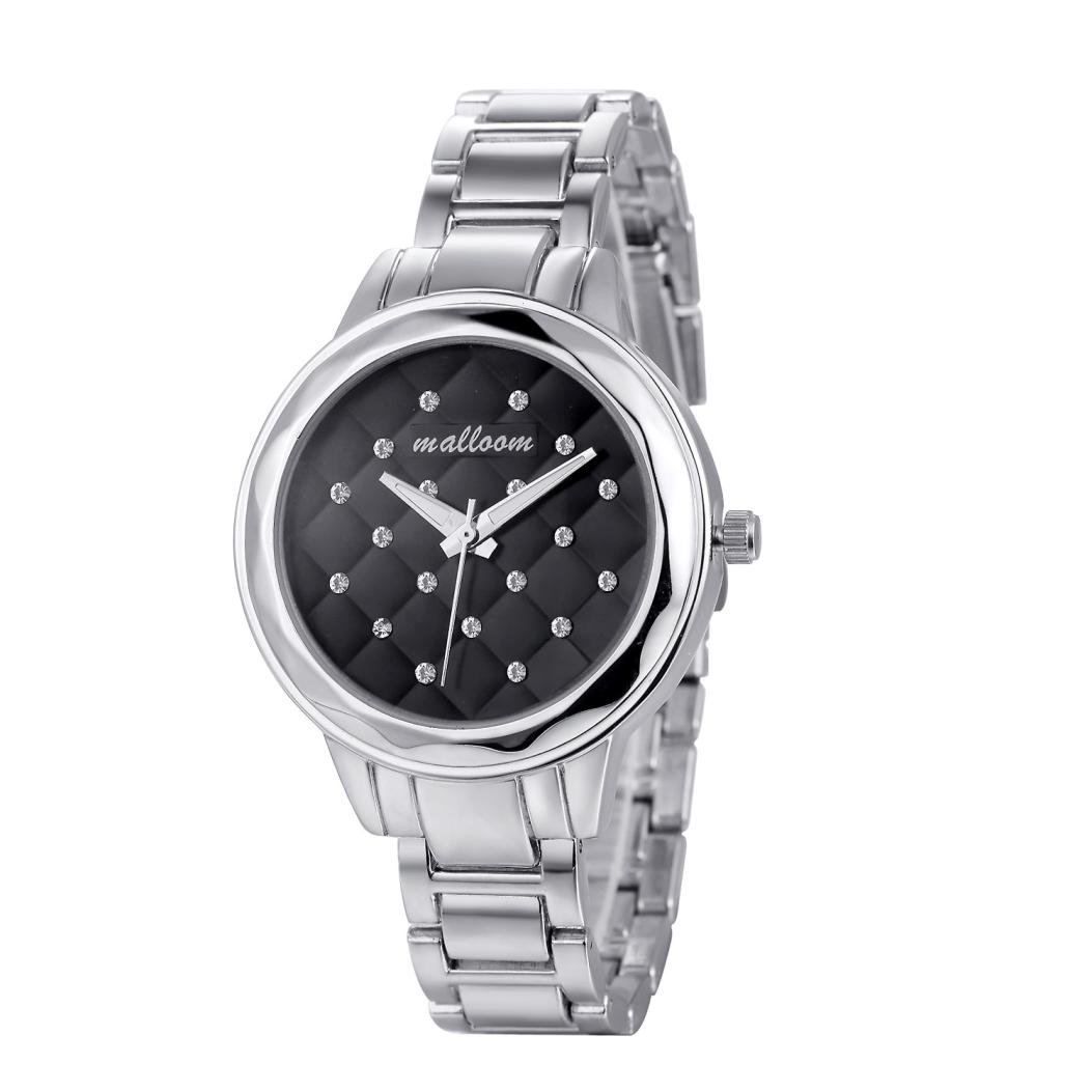 レディースエレガントな腕時計、Sinmaファッションクリスタルブラックダイヤル腕時計スチールBnadアナログクォーツブレスレット ブラック B071HQKCBZ Rose Gold