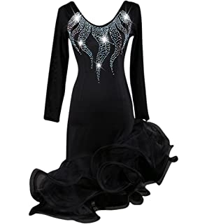 16c0aa601 NAKOKOU Women's Latin Dance Outfits Competition Dresses Performance Organza  Ruched Rhinestones Dress Long Sleeves