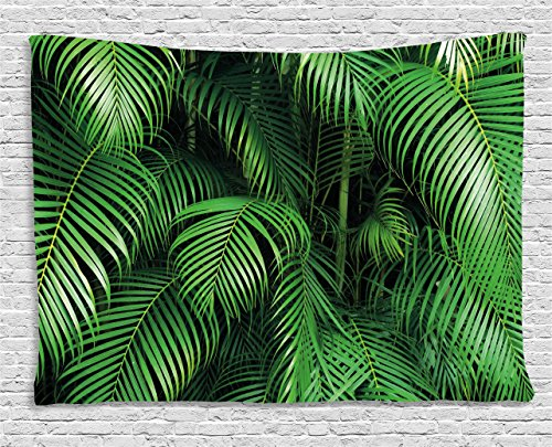 (Ambesonne Green Tapestry by, Tropical Exotic Palm Tree Leaves Branches Botanical Photo Jungle Garden Nature Eco Theme, Wall Hanging for Bedroom Living Room Dorm, 60WX40L Inches,)