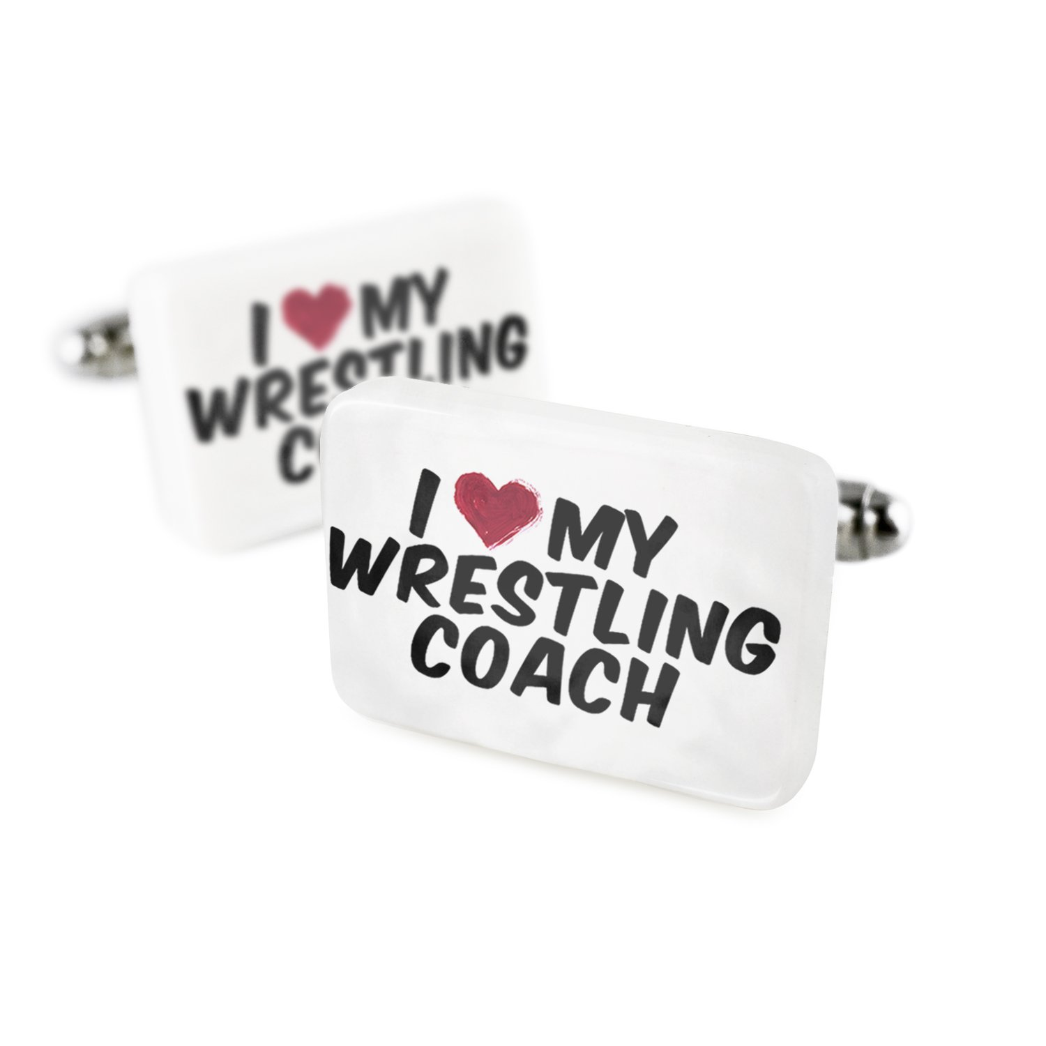 Cufflinks I heart love my Wrestling Coach Porcelain Ceramic NEONBLOND