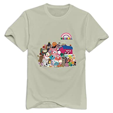 StaBe Men The Amazing World Of Gumball Logo T-Shirt O Neck Geek S Natural