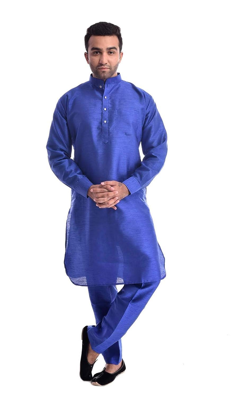 Royal Kurta Mens Silk Blend Hineck Emboirde Kurta Churidar 42 Blue