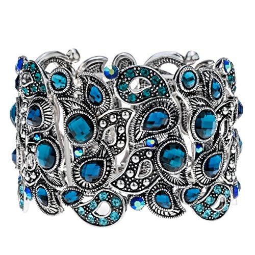 Angel Crystal Silver Bracelets - Angel Jewelry Women's Crystal Skull Stretch Cuff Bracelet