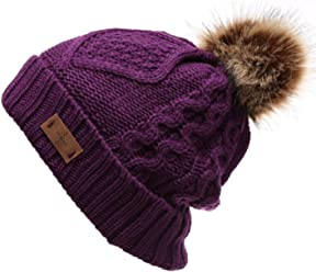 57d079ceaebb4 ANGELA   WILLIAM Women s Winter Fleece Lined Cable Knitted Pom Pom Beanie  Hat