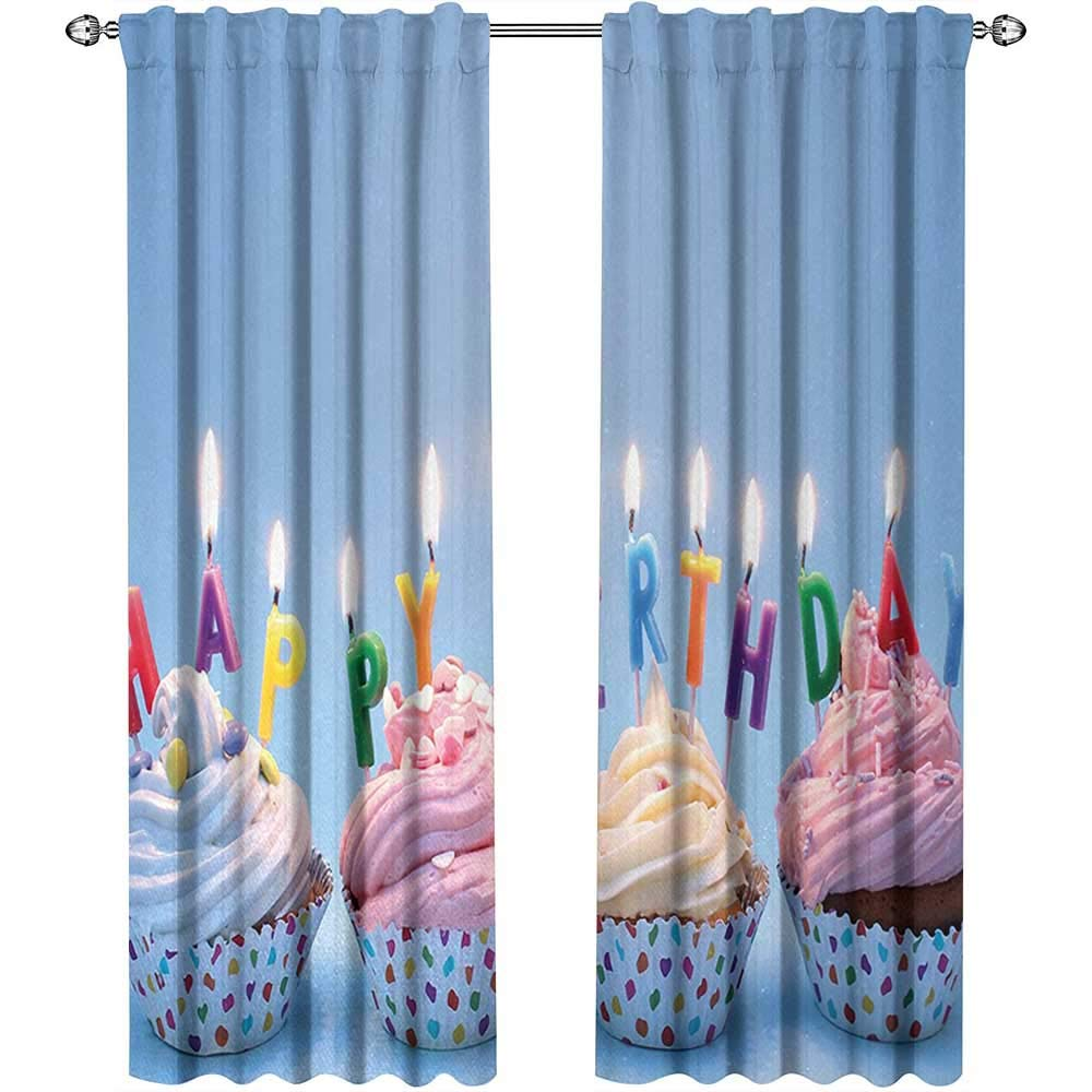 Birthday, Curtains Darkening Blackout, Delicious Creamy Cupcakes with Letter Candles Sweet Celebration Theme Art Print, Curtains in Living Room, W84 x L96 Inch, Multicolor by Returiy