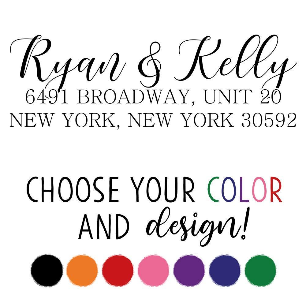 Custom Address Stamp | Personalized Address Stamp | 5 Designs & 7 Colors! (Design 1) by 904 Custom