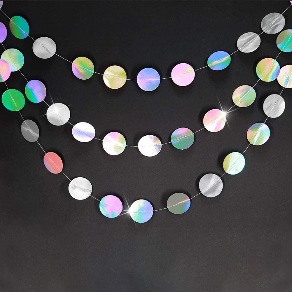 Glitter Iridescent Circle Dots Garland Paper Hanging Polk Dot Streamer Party Decoration Bunting Banner Backdrop for Birthday//Wedding//Baby Shower//Engagement//Bridal Shower Party Supplies