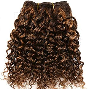 Emmet 2pcs/lot 100g Short Wave 8Inch Brazilian Kinky Curly Human Hair Extension, with Hair Care Ebook (Piano Color 4/30)