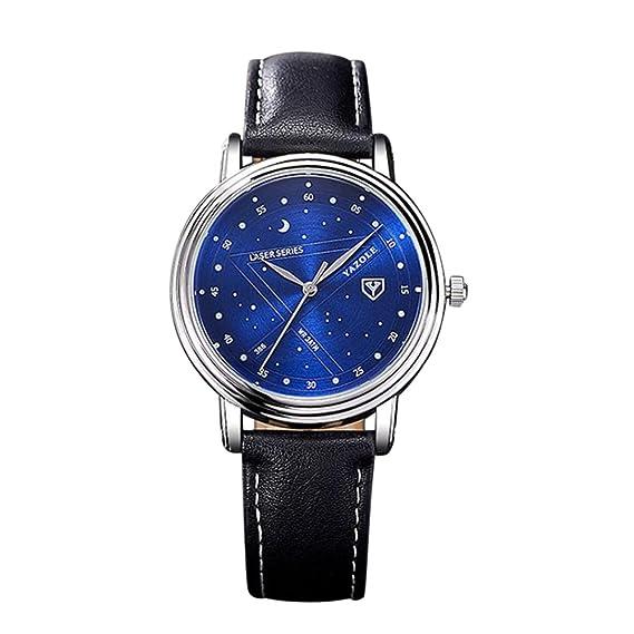 Goodsatar Yazole Moda Casual Cielo estrellado Reloj Hombre Negocio Reloj de pulsera (D)