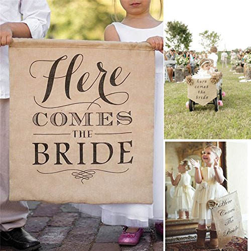 OZXCHIXU 'HERE COMES THE BRIDE' Burlap Bunting Banners for Wedding Backdrop Decoration, 1pc Flags]()